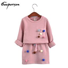 girls winter clothing set long sleeve shirt with ball with pencil skirt pink and blue color fashion clothes set kids children - Kid Shop Global - Kids & Baby Shop Online - baby & kids clothing, toys for baby & kid Fashion Kids, Colorful Fashion, Fashion Outfits, Fashion Clothes, Style Fashion, Latest Fashion, Winter Fashion, Dress Clothes, Fashion Games