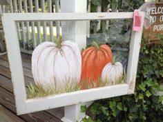 pumpkins painted on old windows - Google Search