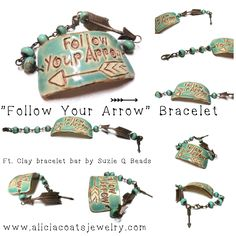 SOLD / Follow Your Arrow Bracelet ft. clay bracelet bar by Suzie Q Beads, Vintaj antiqued raw brass feather, & 8mm green turquoise rondelle beads. Hand-crafted by www.aliciacoatsjewelry.com. OOAK Arrow Bracelet, Green Turquoise, Wax, Feather, Brass, Pendants, Antiques, Bracelets, Accessories