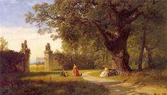 Hans Gude (Norwegian 1825–1903) [Norwegian romantic nationalism] Parklandskap Med Figurer, 1856. Private Collection.