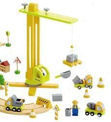 wooden crane set. would go perfectly with her wooden train track.