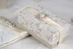 Beautifully styled deep rectangular box with separate deep fit lid. 14mm Ivory ribbon with circle diamante slider fastening.  Measures 5cmx10cm 4cm