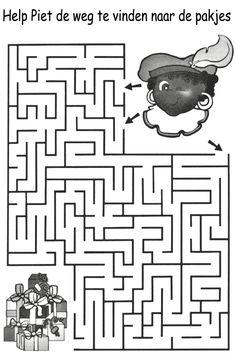 * Help Piet de weg naar de pakjes te vinden...