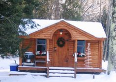 12x16 Gibraltar Cabin. Example shows optional log cabin siding + skinned hemlock posts. Only available Fully Assembled in the northeast. http://jamaicacottageshop.com/shop/gibraltar-copy/ #jamaicacottageshop