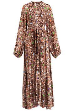 Essentiel Antwerp Damen Maxikleid mit Leoprint Zebel Braun | SAILERstyle Tiered Skirts, Trends, Bold Prints, Blue Fabric, Elegant, Fashion Advice, Designer, Fitness Models, Bohemian