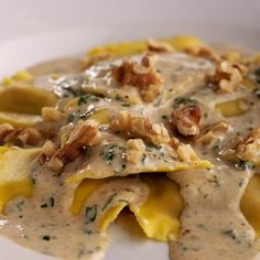 A lovely butternut squash ravioli with brown butter sauce.
