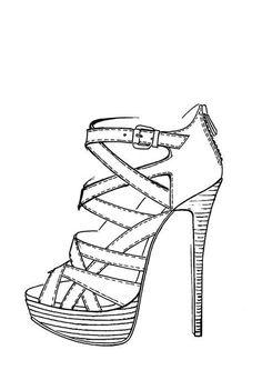 Resultado de imagen para high heel shoe template for coloring in Dress Design Sketches, Shoe Sketches, Fashion Design Drawings, Fashion Sketches, Drawing High Heels, Drawing Of Shoes, How To Draw Heels, Shoe Template, Fashion Drawing Dresses