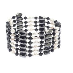 The definition of empowered jewelry. Magnetic natural hematite beads are strung with Austrian Crystal and natural pearls. The Hematite clicks together when wrapped to hold any style- bracelet, necklace, Choker. Sold individually in assorted colors.