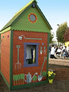 Barbara Butler-Extraordinary Play Structures for Kids-Country Garden Shed: An earthy pallette Play Structures For Kids, Outdoor Play Structures, Wooden Playhouse Kits, Build A Playhouse, Outside Playhouse, Playhouse Outdoor, Kids Outdoor Furniture, Luxury Playhouses, Luxury Tree Houses