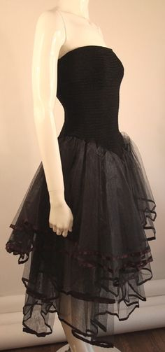 Vintage Betsey Johnson Black Strapless  Ruched with Tulle Dress