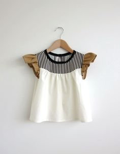 girls' cotton blouse with striped detail van swallowsreturn op Etsy, $30.00