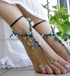 Barefoot sandles Bohemian foot jewelry Hippie Barefoot by MarryG