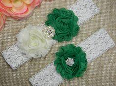 Green Wedding Garter Set  Bridal Garter  by PrettyCountryBridal