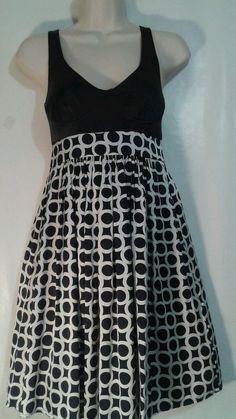 ARDEN B Sexy black Silk bra dress White circles size 0 Empire Corset  #ArdenB #EmpireWaistCorsetBackBlackSilkBraDress #CocktailClubwearEvening