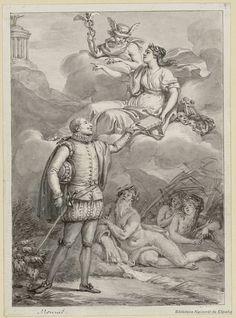 [Cervantes entregando su Don Quijote a la Musa Talía]. Monnet, Charles 1732-ca. 1808 — Dibujo — 1780