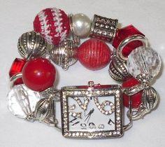 Interchangeable Watch Band  True Love  Beaded by LoveBugsJewelry, $16.50
