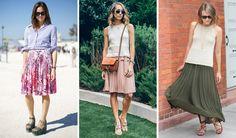 como usar saia plissada com quadril largo