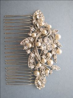Vintage Style Bridal Hair Comb,Crystal Rhinestone and Pearl Wedding Hair Comb,Wedding Hair Accessories,Ivory,white Pearl Comb,headpiece,clip by ChantalEveleen on Etsy