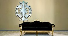 This would be beautiful above the bed, lengthwise   If I could find a design with the baroque design on the outside so that I could put a light fixture in the middle of it that would be PERFECT. I'm sure the light it would reflect would be stunning.  $175  Baroque Damask Resin Wall Mirror