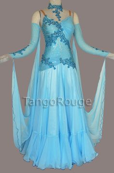 Baby Blue Vienesse Waltz Ballroom Dance Dress. needs to made into a skating outfit…just a little shorter