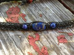 Lapis Lazuli Organic Black Hemp Choker NecklaceRich by TheSunLab, $16.00