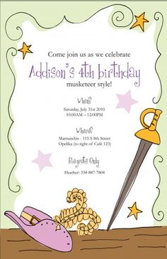 Musketeer Party Invitation