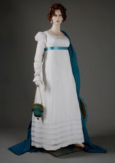 Beauiful Muslin Linen White Regency Gown $775  This delightfully dainty gown is based off a historical gown in the MET collection.   *Gloves, shawl, purse, bracelet not included.*