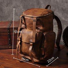 Handmade Vintage Brown Leather Backpack Casual Rucksack Travel Backpack Hiking Backpack MT06 - LISABAG
