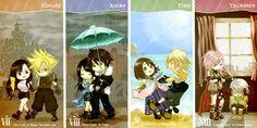 Tifa/Cloud, Rinoa/Squall, Yuna/Tidus, & Lightning/Hope