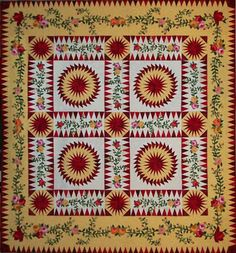 Look at this gorgeous quilt! This was a raffle quilt made by the Quilters Guild of Plano , TX in Vintage Quilts Patterns, Antique Quilts, Quilt Patterns, Circle Quilts, Star Quilts, Appliqué Quilts, Yellow Quilts, Green Quilt, Sunflower Quilts