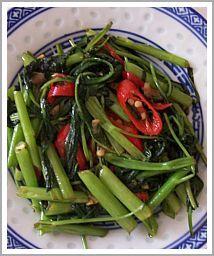 stir fry Kangkung - Indonesian Water Spinach Recipe, yummo!