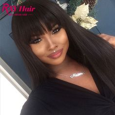 77.14$ Buy here - http://ali8cp.worldwells.pw/go.php?t=32777840079 - Glueless Full Lace Wigs with frontal Big Bangs 7A Raw Indian Straight Lace Frontal Wig Full Lace Human Hair Wigs For Black Women 77.14$