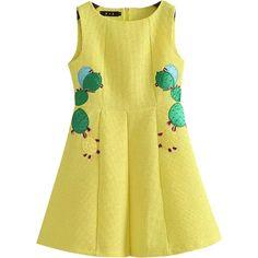 Chicnova Fashion Sleeveless Mini Dress ($29) ❤ liked on Polyvore featuring dresses, zipper back dress, applique dress, beige short dress, sleeveless dress and round neck dress