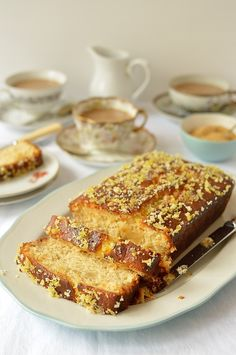 Lemon And Ginger Drizzle Cake - Domestic Gothess Lemon Dessert Recipes, Sweet Recipes, Cake Recipes, Ginger Loaf Cake, Lemon Ginger Cake Recipe, Just Desserts, Delicious Desserts, Delish Cakes, Lemon Bread