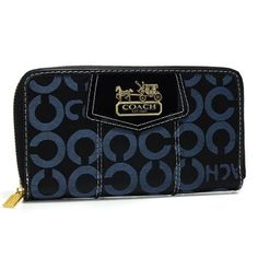 The soft signature fabric and the refined luxury of the new hardware give this customer favorite a pretty signature update. It opens to reveal a well-appointed, maximum-capacity interior with card slots. Coach Shop, Coach Purses Outlet, Cheap Coach, Large Wallet, Wallets, Zip Around Wallet, Navy, My Style, Accessories