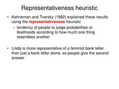 representative heuristic example Thinking part II judgment heuristics reasoning decision-making . Confirmation Bias, Cognitive Psychology, Cross Pens, Feminist Movement, Letter V, Stanford University, What To Make, Decision Making