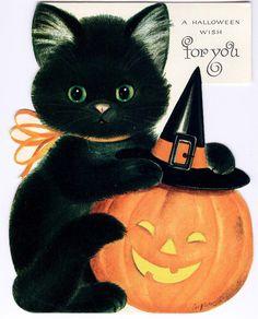 #Halloween #blackcat #pumpking (vintage greeting card)