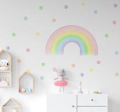 Rainbow Wall Decals, Pastel Girl Room Stickers, Rainbow and Polka Dots Nursery Decor, Pastel Color Kids Room Decor Polka Dot Nursery, Polka Dot Wall Decals, Polka Dot Walls, Polka Dots, Rainbow Room Kids, Rainbow Bedroom, Pastel Girls Room, Pastel Nursery, Girls Room Paint