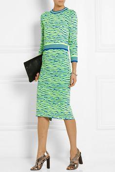 House of Holland|Intarsia stretch-knit pencil skirt|NET-A-PORTER.COM