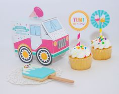 Ice Cream Truck, Cookies and Cupcakes - This Ice Cream Shoppe Party is so sweet!