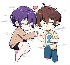 Koi to uso chibi yuusuke nisaka and Neji nejima Yukari sleeping hairstyle cute Nice hand Heart