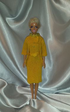 Crochet Barbie Dress & Coat, Fashion Doll Crocheted Clothing, Handmade Barbie Clothes, A Bright Outfit For Barbie or Fashion Doll by GrandmasGalleria on Etsy