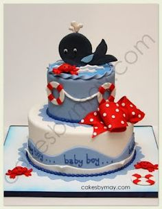 Cakes by Maylene: Whale Nautical Baby Shower Cake.I would use this for beans first bday since he had a nautical baby shower Baby Boy Cakes, Cakes For Boys, Baby Shower Cakes, Shower Baby, Whale Cakes, Sea Cakes, Beautiful Cakes, Amazing Cakes, Fondant Cakes