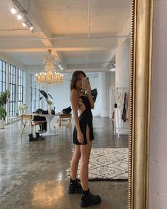 at in los angeles, california. dress combat boots influencer style are you am i emma leger drama fashion stylist Mode Outfits, Trendy Outfits, Dress Outfits, Summer Outfits, Girl Outfits, Fashion Outfits, Outfits For Parties, Looks Chic, Looks Style