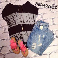 Super cute NEW outfit! Black Tie Dye Tee $28.99 Big Star Capris $136.00 Pink Sandals $38.99 Arrow Necklace $21.99 #bedazzledokc #boutique #okc #shopbedazzled
