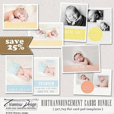 INSTANT DOWNLOAD Birth Announcement Cards by TiramisuDesign, $16.25