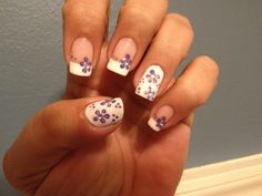 Purple Flowers on French White Tip - Nail Art Gallery