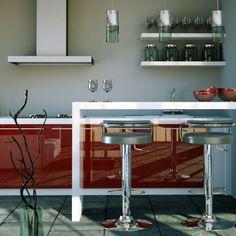 Différentes ambiances, meubles de cuisine laqués ou mates.