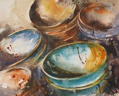 Earthenware and stoneware. Rey Catherine Catherine Rey.  Watercolor