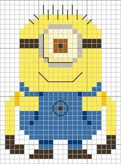 Despicable Me Minion cross stitch chart from Sheena Rogers  -free (Yellow 307; Dark Yellow 742; Blue 799; Dark Blue 796; Brown 434; Very Dark Brown 3371; Cream 746; Dark Cream 677)
